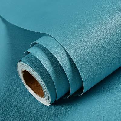 SMXGF Grijs wallpaper zelfklevende eenvoudige warme slaapzaal student slaapkamer decoratie meisje kledingkast bureau waterdichte sticker effen kleur (Color : Lake Blue, Dimensions : 3mx60cm)