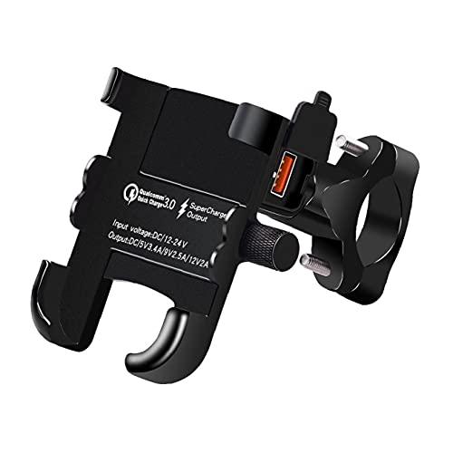 2 en 1 impermeable motocicleta montaje de teléfono con el cargador USB QC3.0 Bicicleta soporte para teléfono manillar cuna para dispositivos Smartphone 4-6inch / GPS/móvil, soporte