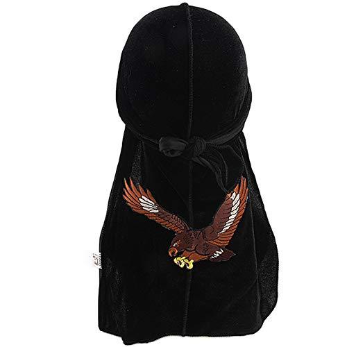 iKulilky Herren Bandana Kopftuch Hat Adler Stickerei Langen Schwanz Fahrrad Radfahren Kopftuch Pirat Stirnband Gold Samt Skull Cap - Schwarz