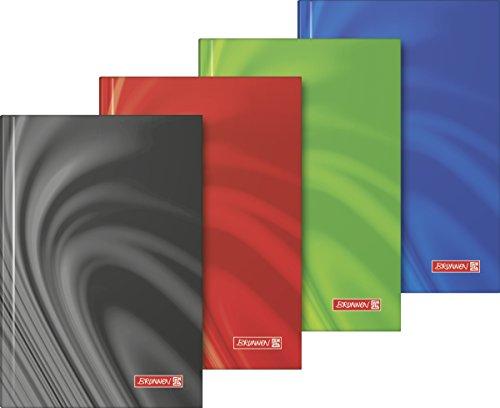Brunnen 105597202 Notizbuch Vivendi (Hardcover, A6, kariert, 192 Seiten) 1 Stück, farbig sortiert in rot, blau, grün oder schwarz