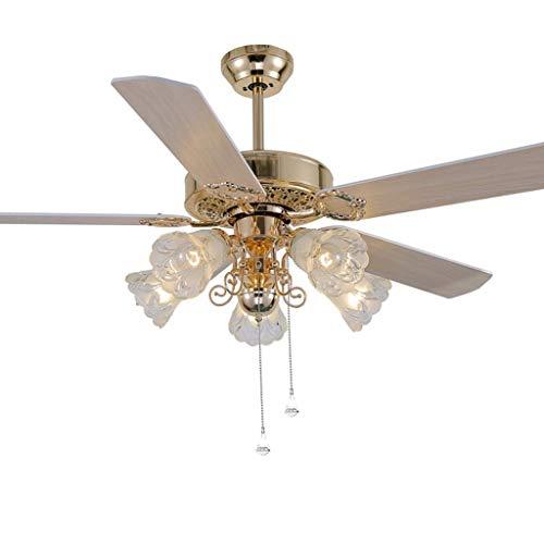 Ventilador de techo con luz de techo retro claro Luz con 5 hojas de cristal Control de cable Mute adelante y viento inverso para sala de estar y dormitorio, 42 '/ 48' / 52 ' Ventilador de techo para d