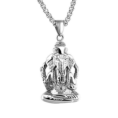 PAURO Hombre de Acero Inoxidable Ganesha Elefante Dios del Exito Suerte Colgante Collar Vendimia Plata