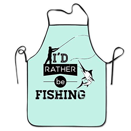 "VimcustomPr Delantal de pesca con texto en inglés ""I D Rather Be Fishing"", ajustable, lavable, para cocinar y hornear, unisex"