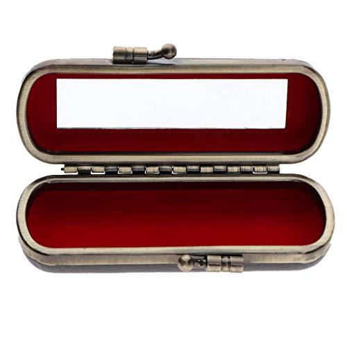 Homyl Etui de Rouge à Lèvres avec Mirror Vintage Floral Lipstick Case Portable de Sac de Voyage - Gris foncé