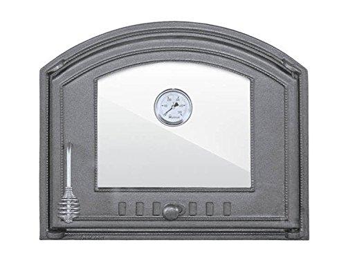Tradehub Backofentür Ofentür Pizzaofentür Holzbackofentür Steinbackofentür aus Gusseisen mit Thermometer und Ofenscheibe | Außenmaße: 485x410 mm | Öffnungsrichtung: rechts