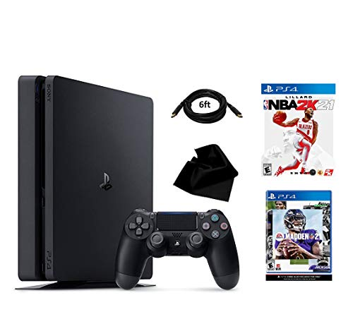 PS4 2021 Ultimate Sports Edition | Includes: Playstation 4 Slim 1TB Console | Wireless Controller for Playstation 4 | Madden NFL 21 | NBA 2K21 | KWALICABLE Accessory (Sports Bundle)