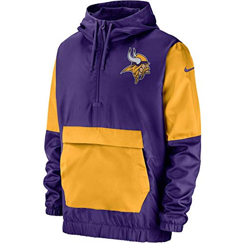 Nike Men's Minnesota Vikings Purple Half-Zip Fan Gear Anorak Jacket (Large)