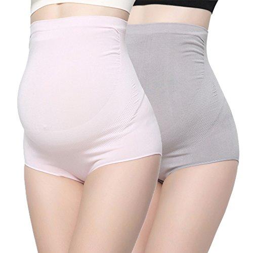 ZUMIY Women's Maternity Underwear High- Waist Bamboo Fiber Over Bump Underwear Support Briefs (L (145lb-198lb Mother), Grey+Pink/ 2pack)