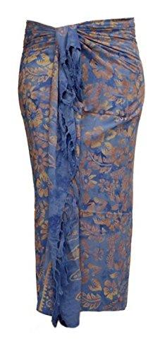 ca.100 Modelle im Shop Sarong Strandtuch Pareo Wickelrock blau hellblau Sar56