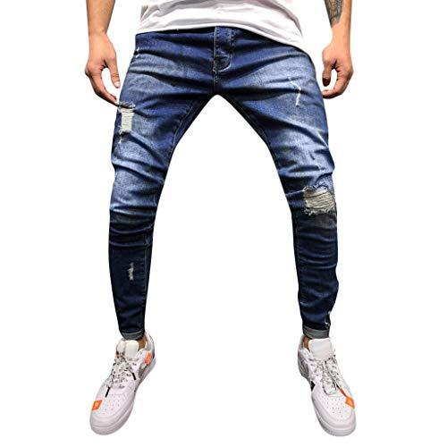 Jeans Uomo Stretti alla Caviglia,Pantaloni da Cowboy alla Moda Slim Fit con Fori Distrutti,Allungare Jogger Autunno Inverno Alunno Casuale Cowboy Pantaloni Handsome/Blu Scuro,XL