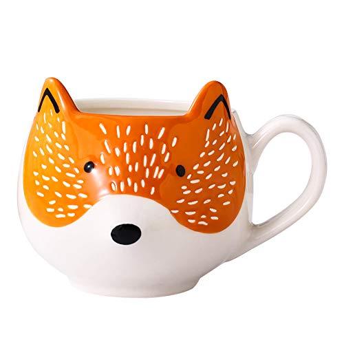 3D Fox Mug Stoneware Coffee Mug Tea Cup Hand Painted Ceramic Animal Coffee Cup Mug, Orange and White