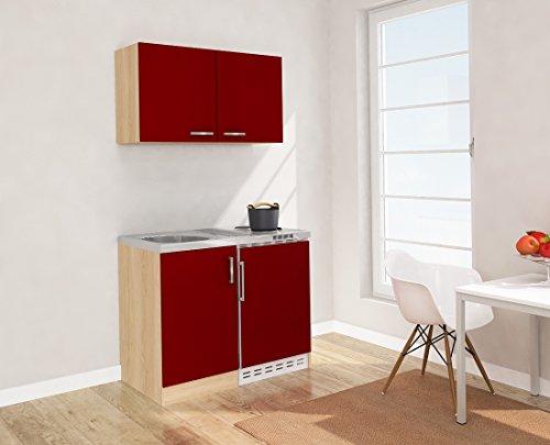 respekta Mini Küche Singleküche 100 cm inkl. Oberschrank Eiche Sägerau Nachbildung Front rot MK 100 ESROS