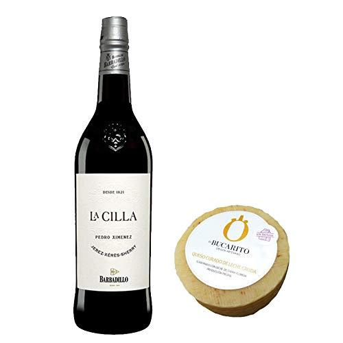 Pack de Vino Pedro Ximenez La Cilla de Barbadillo y Queso Curado de Leche Cruda Sin Lactosa - Vino de 75 cl y Queso de 900 g aprox - Mezclanza