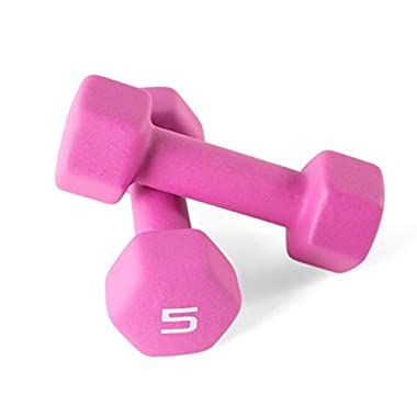 CAP Barbell Neoprene Coated Dumbbells (Pair), 5 lb/Small