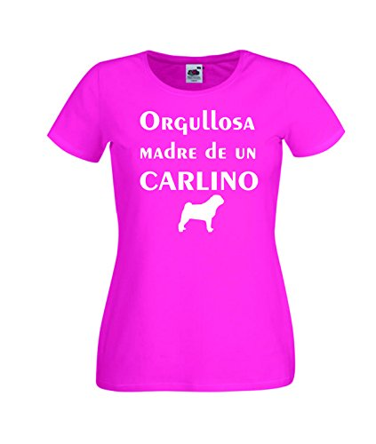 Camisetas divertidas Child Orgullosa Madre de un Carlino - para Mujer Camisetas Talla Medium Color Rosa Fucsia