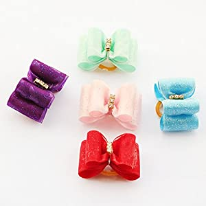 PET SHOW Ribbon Hair Bows for Dogs Topknot Puppy Hair Grooming Accessories with Rubber Bands Mixed Color Pack of 20