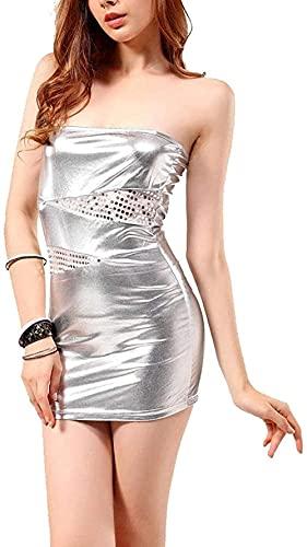 MENG Mujer Mini Vestido de Cuero Sexy Wetlook Pvc Emulsión Moda Shiny Winy Wrapped Thream Dress Club Ropa Falda de Cuero,a,3Xl