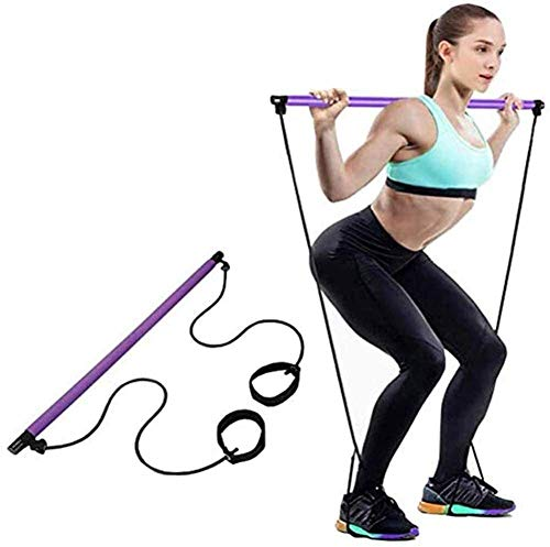 DBWIN Bodybuilding Pilates Stick met Resistance Band Multifunctionele Paal met Voet Band Oefening Fitness Apparatuur Borst Expander Arm Puller Voor Thuis Gym Bodybuilding Workout