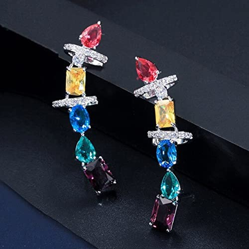 Gorgeous Multicolored Cubic Zirconia Crystal Big Long Chunky Ear Cuff Earrings for Women Brincos Jewelry CZ599