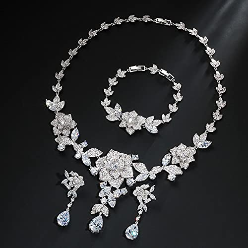 yuge Juego de joyas de plata de ley 925, adecuado para mujeres glamorosas, conjunto de collar de pulsera, regalo de boda, fiesta de color blanco