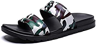 Fashion Men Slippers Summer Basic Outdoor Sandal Male Anti-slip Thick Beach Flip-Flop Soft Lightweight Thongs (Color : Green, Shoe Size : 42)