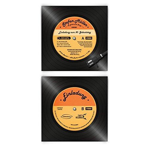 Einladungskarten zum Geburtstag (30 Stück) als Schallplatte Vinyl LP CD Musik Platte