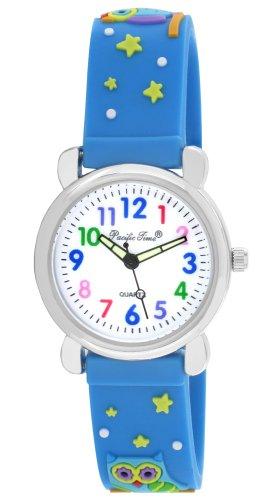 Pacific Time Kinder-Armbanduhr Lernuhr Mädchen Jungen bunte Eule Analog Quarz blau 20791