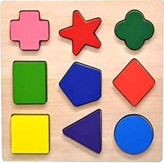 GYBBER&MUMU Wooden Preschool Colorful Shape Puzzle Toddler Educational Learning Toys for Age 0.5+