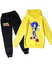 ZKDT Sonic Hedgehog - Sudadera con capucha y pantalón de chándal para niños y niñas