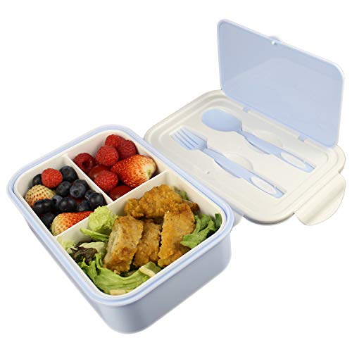 UPTRUST Bento Lunch container For Kids Bento adult box With 3 Compartment Leak-proof Microwave safe Dishwasher Safe Freezer SafeMeal Fruit Snack Packing BoxSpoon&Fork includedBlue-White