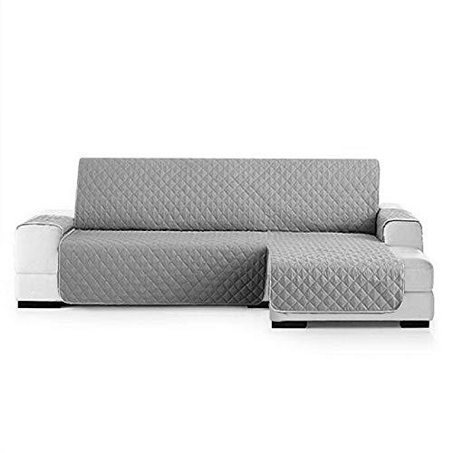 Fundas de Sofa Chaise Longue Derecho 240cm Impermeable,Protector Su Muebles Chairse Longue Cubierta para Sofás Acolchado Reversible Cubre de Sofa Antideslizante Gris(Visto de Frente)