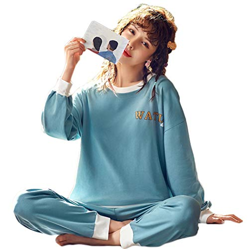 GJF PJ-sets dames pullover katoenen pyjama lange mouwen en broeken pyjama set casual trends meisjes bikini blauw