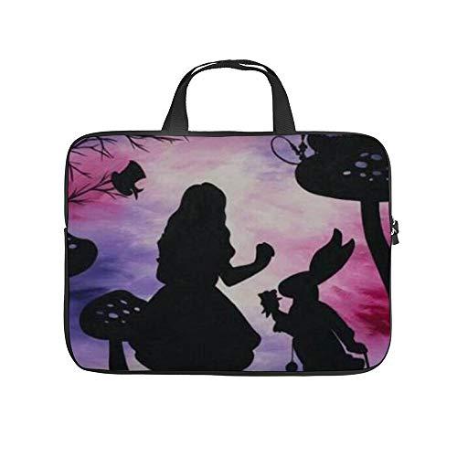Alice in Wonderland Laptop Bag Protective Case Tote Notebook Computer Pocket Case Carrying Zipper Bag 10-17 Inch