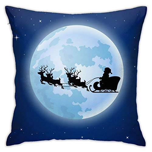 July Santa Claus Boarded A Deer Sledscenery Moon Pillowcase Cute Square Pillow Case, Size 18'x 18' Not Include Pillow Core, Suitable for Square Pillow Core