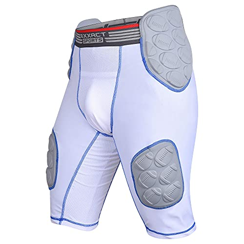 Exxact Sports 'Touchdown 5-Pad Football Girdle w/Integrated Hip,Thighs and Tailbone Pads, w/Cup Pocket | Compression, Integrated and Protective Football Gear (Adult) (White, Adult Small)