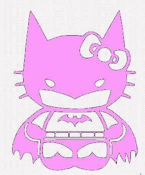 SUPERSTICKI® Hello Kitty Batgirl Batman Aufkleber Decal Hintergrund/Maße in inch Vinyl Sticker|Cars Trucks Vans Walls Laptop| Pink |5.5 in|CCI435
