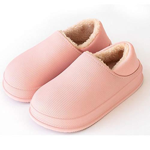 DYXYH Zapatillas de Invierno Zapatillas de Felpa cálidas Informales Interiores Impermeables Zapatillas de Piel de algodón Zapatillas de casa (Color : Pink, Size : 39-40)