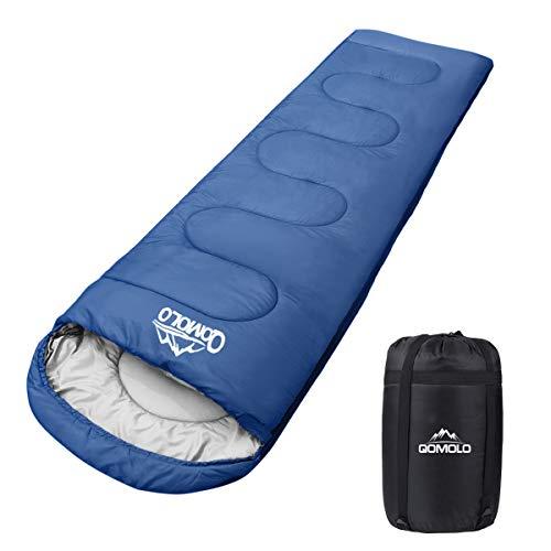 Qomolo Schlafsack, 1000g Outdoor Deckenschlafsack Tragbar Ultraleichter Wasserdichter und Super Warme Baumwollfüllung, für Erwachsene, Kinder, Jugendliche für Camping, Wandern, Sommerlager