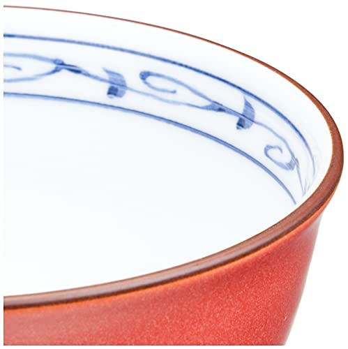 波佐見焼 軽量飯碗 彩釉兎絵柄 赤色 70882