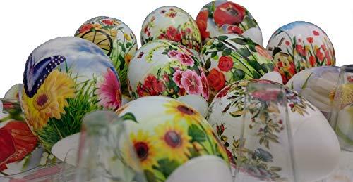 ukrainisches-kunsthandwerk 24 Ostereier. mit Folie bezogen. Gemischte Muster. überwiegend .Blumen. Wetterfest.Kunststoffeier