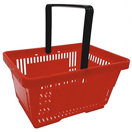 gebar 1 Einkaufskorb in rot mit einem Tragegriff aus Plastik 20 Liter Verkaufskorb Verkaufskörbe stapelbar