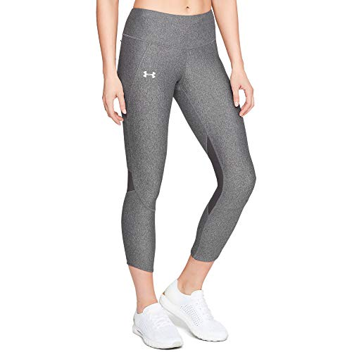 Under Armour Fly Fast Crop Calzoni Alla Pescatora, Donna, Charcoal Light Heather/Charcoal Light Heather/Reflective, SM
