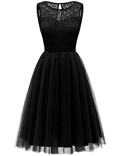 Bbonlinedress tüllrock faschingskostüme Damen tütü Cocktailkleid Tüll Kleid Brautjungfern Partykleid Abendkleid Black M