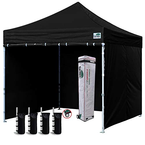 Eurmax 10'x10' Ez Pop-up Canopy Tent Commercial Instant Canopies with 4 Removable Zipper End Side Walls and Roller Bag, Bonus 4 SandBags (Black)