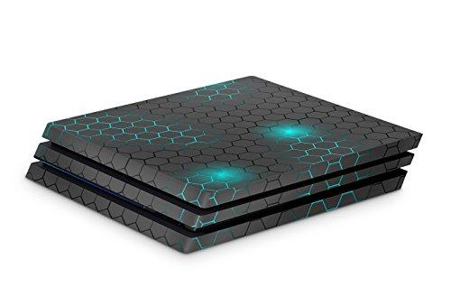 Skins4u Aufkleber Skin für PS4 Playstation 4 Pro Design Schutzfolie Vinyl exo small tuerkis