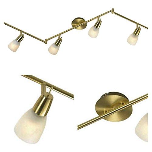 Deckenstrahler 6 flammig Decken Spot Messing matt Glas Spots beweglich (Deckenlampe, Deckenleuchte,...
