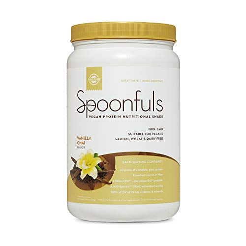 Solgar Spoonfuls Vegan Protein Powder - Vanilla Chai Flavor, 14 Servings - Nutritional Shake with Probiotics, Digestive Enzymes, Flaxseed - Non GMO, Gluten & Dairy Free - 3 Scoops Per Serving