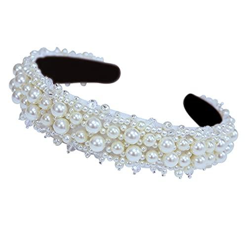 AHURGND Frauen-Haar-Reifen, Full Pearl Edition Haarbänder Perlen Frauen Stirnband, Perlen Perlen Brautstirnband, Brauthaar-Reifen, gepolsterte Perlen Stirnbänder weiß...