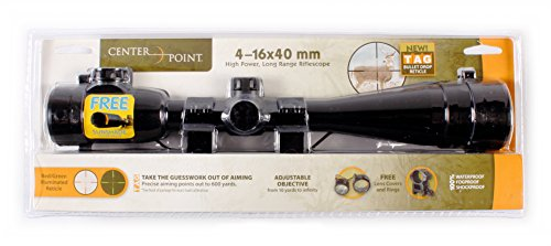 CenterPoint LR416AORG2 4-16x40mm Rifle Scope with Illuminated Parallax Adjustable T.A.G. Reticle and Picatinny Rings