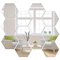 ミラーウォールステッカー 非ガラスミラープラスチックミラー3D六角アクリルミラー壁マジックマッピング装飾 粘着タイル(12ピース)
